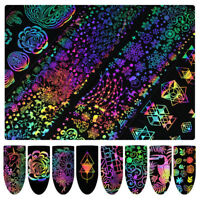 8PCS DIY Holographic Nail Foil Xmas Dreamcatcher Geometric Nail Art Stickers New