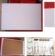 tableau d'affichage présentoir bijoux collier liège tissu blanc 60 x 90 cm horiz