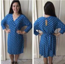 WOMENS PLUS DRESS 1X NEW BLUE WHITE DOT 14 16 XL NWT CUTE FALL DEAL