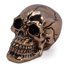 "Small Mini Copper Chrome Skull Figurine 2"" Long Resin New"