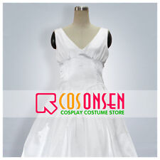 Cosonsen Saint Seiya The Lost Canvas Sasha(Athena) Cosplay Costume White Dress