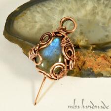 Rainbow Labradorite Crystal Brooch Antiqued Copper Wire Wrapped Gemstone