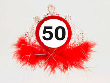 50TH BIRTHDAY FEATHERY TIARA TRAFFIC SIGN AGE PARTY