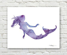 PURPLE MERMAID Contemporary Watercolor ART Print by Artist DJR