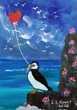 More details for puffin valentine b  original scottish impressionist oil painting  l s rowly