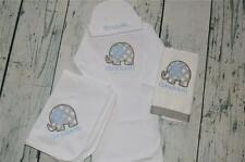 Elephant PERSONALIZED Gift Set Blanket Infant Gown Cap & Burp Cloth Blue & Grey