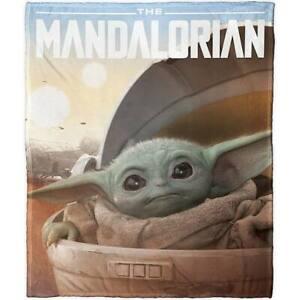 Star Wars The Mandalorian Throw Blanket Baby Yoda 50x60 Soft Plush Silk TouchNEW