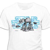 Star Wars - Logo with ATAT Walker T Shirt - NEW & OFFICIAL MERCHANDISE
