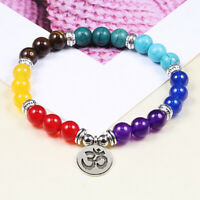 7 Chakra Stone Women Healing Balance Beads Bracelet Lava Yoga Reiki Prayer 8mm