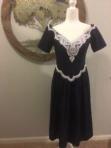 Jessica McClintock Gunne Sax Formal Dress Lace Collar Navy Blue 1980s Vntg 9 10