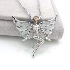 Moda aleación plata plateado Alas de ángel Opal Sweater Cadena Collar De Cristal xl26
