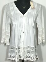White Shirt Peasant Boho Blouse Open Lace Pattern