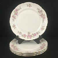 Set of 4 VTG Dinner Plates Mitterteich Springtime Pink Floral Bavaria Germany