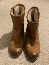 Dune ladies 'Panup' tan leather wedge ankle boots size 6