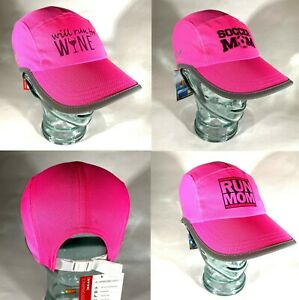 Reflective Neon Women's Running Hat w/ ponytail opening with Run Mom & others