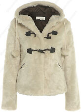 FAUX FUR COAT NEW Womens Hooded JACKET Cream Size 8 10 12 14 16 Winter FUR