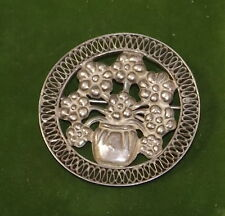 Vintage Pot Vase Boquet of Flowers Filigree Sterling Silver Brooch Pin 4a 48
