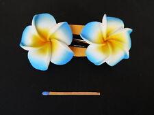 Hawaii Barrettes Duo 6cm Fleurs de Frangipanier Orange Blanc Bleu
