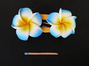Hawaii Haarspangen Duo 6cm Frangipani orange weiß blau