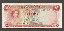 Bahamas 3 Dollars L.1965; F+; P-19; L-B118a; QEII, Paradise Beach; colorful