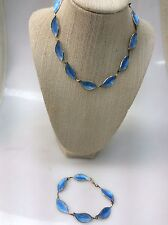 Vtg Brd. B Bjorklund Denmark Sterling 925S Blue Enamel Necklace Bracelet Set