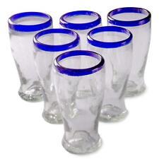 Orion Mexican Glassware Cobalt Rim 16 oz Cantina Beer - Set of 6