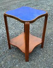 Vintage Antique Art Deco 1920s Blue Cobalt Mirror Glass Top Wood End Hall Table
