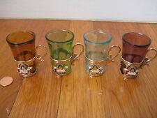 vtg Montreal glass CORDIAL SET shot cup souvenir gold maple leaf barware retro