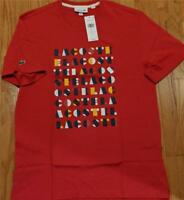 Mens Authentic Lacoste Letters Graphic Cotton T-Shirt Medium Red 7 (2XL) $70