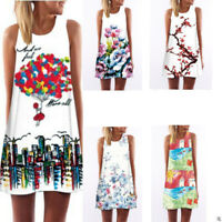 Boho Women Sleeveless SummerPrinted Beach Casual Loose Mini Shirt Beach Dress