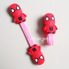 2pcs Spider Man Spiderman Mavel Ear Headphone Cable Cord Wrap Winder roll Holder