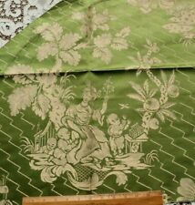 """Antique 19thC French Chinoiserie Patterned Green Silk~ L-24"""" X W-25"""""""