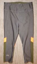 UNDER ARMOUR Compression Stretch Gray Orange Green Crop Yoga Leggings Women's XS