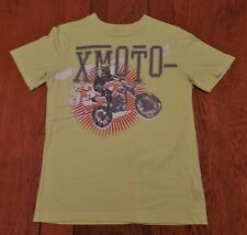 #2226-7 XMOTO Dirt Bike Racing Neon Yellow Graphic T-Shirt Teen XL (14/16)