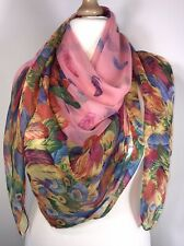 Feathers Scarf Pashmina Pink Soft & Silky Oversized Square Stunning Trending