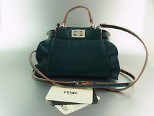 FENDI PEEKABOO Micro borsa mini bag petrol in pelle leather RUFFLE Limited Edition