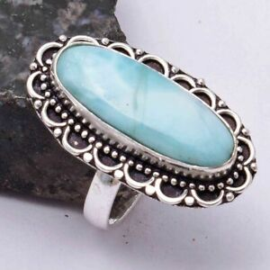 Larimar Ethnic Handmade Ring Jewelry US Size-8 AR 39192