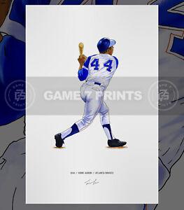 Hank Aaron Atlanta Braves Illustrated Baseball Print Poster Art Henry