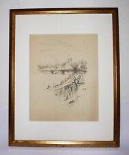 """JAMES WHISTLER """"CHARING CROSS RAILWAY BRIDGE"""" 1896 FRAMED LITHO - COA AMERICAN"""