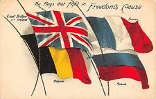 POSTCARD   MILITARY  PATRIOTIC   FLAGS  Freedom ....