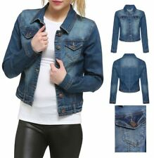 Womens Sleeve Vintage Wash Waistcoat Denim Jean Jacket Stretch Long