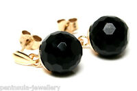 9ct Gold Black Onyx drop earrings Made in UK Gift Boxed