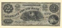 1861 Two Dollars Allegany County Bank Cumberland MD Obsolete Banknote Currency