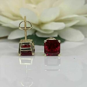 2 Ct Princess Cut Red Ruby Screw Back Stud Earrings 14k Yellow Gold Over Women's