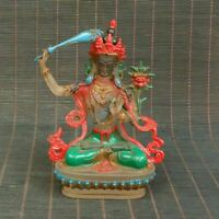 Collectible old beijing liuli coloured glaze Manjusri Bodhisattva statue Buddha