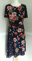 MONSOON Size 12 Floral Jersey Midi Dress Navy Blue & Orange Dip Hem Patchwork