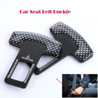 2xUniversal Carbon Fiber Car Safety Seat Belt Buckle Alarm Stopper Clip Clamp