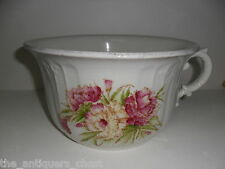 ANTIQUE  White Ceramic Chamber Pot  with Floral Design, PLANTER [*88]