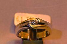Ring 585/- Gelb+Weißgold mit 1 Brillant-Solitär 0.22ct. W/SI, Weite W-57.