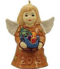 Goebel Angel Bell 2015 Nib Caramel Dress Angel Holding Sleigh 110303 New In Box